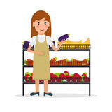 Grocery store seller against vitrine with vegetables. Grocery store female salesperson against vitrine with vegetables and fruit in flat style. Smiling woman Royalty Free Stock Photo
