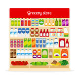 Grocery store shelves with food Stock Photography