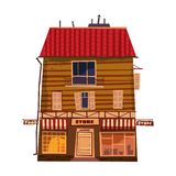 Grocery store, shop facade, building. Vector illustration for local market store house design. Cartoon style, isolated stock illustration