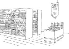 Grocery store shop interior black white graphic sketch illustration vector. Grocery store shop interior black white graphic sketch illustration stock illustration