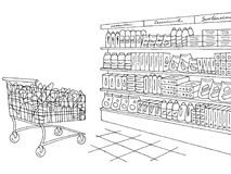 Grocery store shop interior black white graphic sketch illustration vector. Grocery store shop interior black white graphic sketch illustration Stock Images