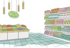Grocery store shop interior color graphic sketch illustration vector Royalty Free Stock Images