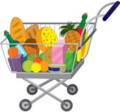 Grocery store shopping cart with food items Stock Photography