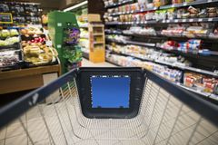 Grocery Store Shopping. Photo Concept. Shopping Cart Inside the Store Stock Photos