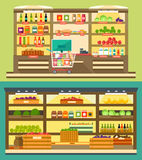 Grocery Store, supermarket shelves with food and drink Royalty Free Stock Images