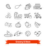 Grocery store thin line art icons set Royalty Free Stock Photos