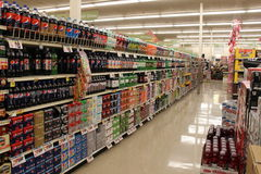 Grocery Store Variety of Soda Stock Images