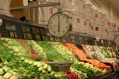 Grocery Store Vegetable Aisle. A photo of the vegetable aisle Royalty Free Stock Photos