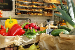 Grocery store with vegetables and bread Royalty Free Stock Photos