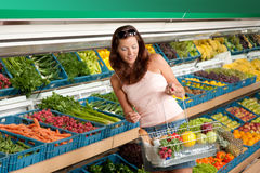 Grocery store - Woman in summer outfit Stock Photo