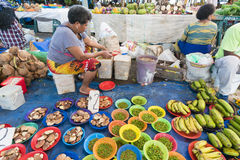 Grocery stores in Fiji. Suva, Fiji - Mar 24, 2017: View of people selling local produce at the grocery stores in Suva Market in Fiji Stock Photos