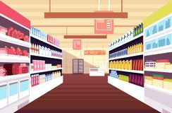 Grocery supermarket interior with full product shelves. Retail and consumerism vector concept. Illustration of supermarket and shop, grocery interior stock illustration