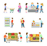 Grocery supermarket store, shoppers, buyers, vegetable, fruit. Flat style people figures at shopping mall supermarket grocery shop shelves. Web template vector Stock Photo