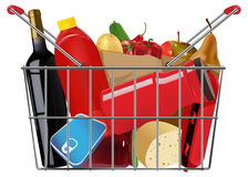 Grocery. Vector shopping full grocery basket, eps10 file, gradient mesh and transparency used Royalty Free Stock Photography