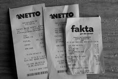 GROCRY RECEIPTS. Copenhagen /Denmark - 03 September . 2017.   Grocery receipts from Netto grcoery market and Fakta food market.     Photo.Francis Joseph  Dean/ Stock Photo