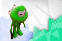 groda 3d med leksaktangentillustrationen Royaltyfri Foto