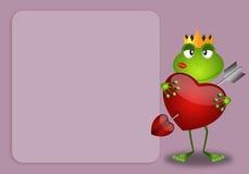 Groda med hjärtabakgrund Royaltyfri Foto