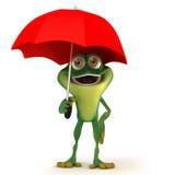 Groda med paraplyet Royaltyfri Bild