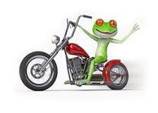 Groda på motorcykeln Royaltyfri Bild