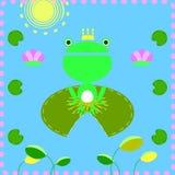 Grodan med lotusblommabladet stock illustrationer