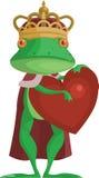 Grodaprincen med en hjärta Arkivfoto