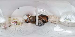 GRODNO, BELARUS - APRIL 04, 2016: Full 360 degree panorama in equirectangular spherical projection in interier loft room photo royalty free stock photos