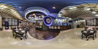 GRODNO, BELARUS - APRIL 25, 2013: Full 360 panorama in equirectangular spherical projection in stylish pizza cafe Turan in royalty free stock photo