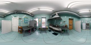 GRODNO, BELARUS - APRIL, 2016: full seamless panorama 360 by 180 angle view in interior of small kitchen room for cooking in stock photos