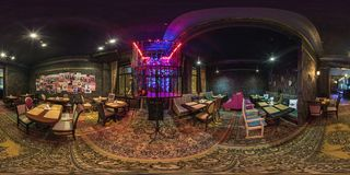 GRODNO, BELARUS - APRIL, 2017: full seamless panorama 360 angle view in interior of stylish hall nightclub bar in vintage style royalty free stock image