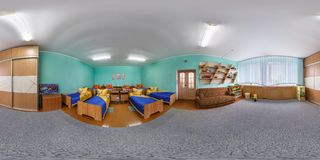 GRODNO, BELARUS - APRIL 22, 2016: Panorama in interior boys bedroom in Kindergarten. Full spherical 360 by 180 degrees seamless stock image