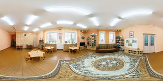GRODNO, BELARUS - APRIL 22, 2016: Panorama in interior children room in kindergarten. Full spherical 360 by 180 degrees seamless royalty free stock images