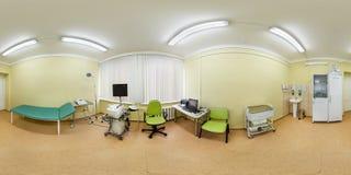 GRODNO, BELARUS - APRIL 20, 2017: Panorama in interior Otorhinolaryngology room in modern medical office. Full 360 degree seamless royalty free stock photo
