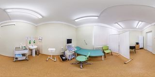 GRODNO, BELARUS - APRIL 20, 2017: Panorama in interior Ultrasonic research room in modern medical office. Full 360 degree seamless stock photos