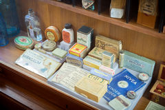 Grodno, Belarus - April 5, 2017: shelf with retro drugs and medicaments in the pharmacy museum. Royalty Free Stock Images