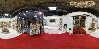 GRODNO, BELARUS - AUGUST, 2017: full seamless panorama 360 angle degrees view in interior of modern store of shelves with royalty free stock image