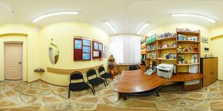 GRODNO, BELARUS - AUGUST, 2016: Full spherical 360 by 180 degrees angle view seamless panorama of interior child mind psychologist stock image