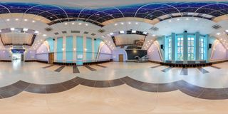 GRODNO, BELARUS - AUGUST 15, 2013: Modern interior of disco dance hall, full 360 panorama in equirectangular equidistant spherical stock photos