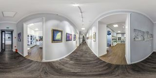 GRODNO, BELARUS - december, 2018: Full seamless spherical panorama 360 degrees angle view in interior of contemporary art gallery royalty free stock image
