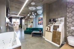 GRODNO, BELARUS - DECEMBER, 2018: inside interior in shop showroom of elite plumbing stock photos