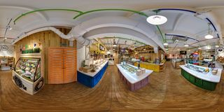 GRODNO, BELARUS - JANUARY 26, 2016: Panorama interior of modern fast food cafe pizzeria. Full spherical 360 by 180 degrees stock photos