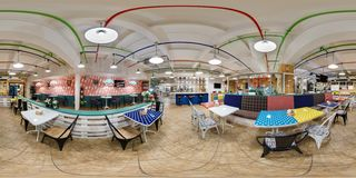 GRODNO, BELARUS - JANUARY 26, 2016: Panorama in interior stylish modern fast food cafe. Full spherical 360 by 180 degrees seamless stock photo
