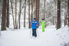 GRODNO, BELARUS - JANUARY 15, 2017. A senior couple outdoor in a winter setting. The active couple is about to go cross country sk Stock Photography