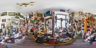 GRODNO, BELARUS - JULY, 2018: Full seamless spherical hdri panorama 360 degrees in the interior of Museum old things in. Equirectangular projection. ready for stock photography