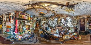 GRODNO, BELARUS - JULY, 2018: Full seamless spherical hdri panorama 360 degrees in the interior of Museum old things in royalty free stock image