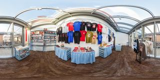 GRODNO, BELARUS - JULY, 2018: Full spherical seamless hdri panorama 360 degrees angle view in interior of store of goods with stock photography