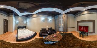 GRODNO , BELARUS - JULY 26, 2013: Modern loft apartment interior, bedroom, hall, full 360 degree panorama in equirectangular royalty free stock photography