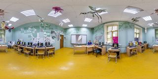 GRODNO, BELARUS - JUNE 2019: full seamless spherical hdri panorama 360 degrees angle view in interior computer class in university stock photo
