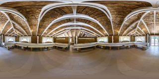 GRODNO, BELARUS - JUNE 10, 2015: Panorama in interior in banquet hall in rustic style. Full 360 degree seamless panorama in royalty free stock photos