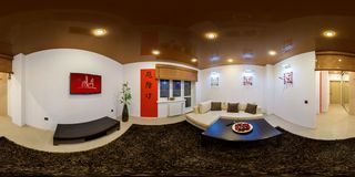 GRODNO, BELARUS - March 19, 2013: Full 360 degree equirectangular spherical panorama in the stylish flat in chinese style royalty free stock photos