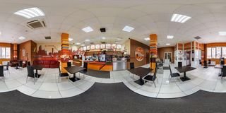 GRODNO, BELARUS - MARCH 15, 2016: Panorama in interior modern youth fast food cafe. Full spherical 360 by 180 degrees seamless stock photo